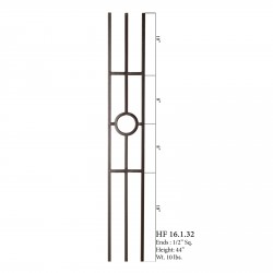 "House of Forgings 16.1.32-T - 1/2"" Square 3 Leg Hollow Panel Baluster - Ash Grey"