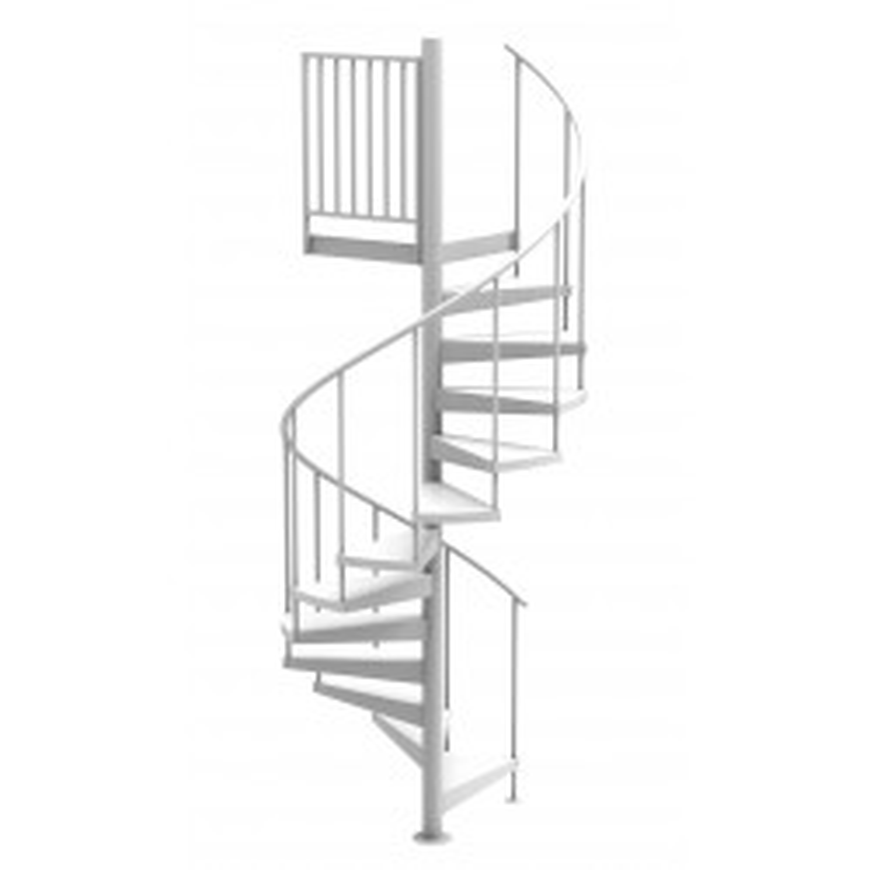 "White 60""D Endurance Non-Code Spiral Stair Kit - Powder Coated Aluminum - 85"" - 152"""