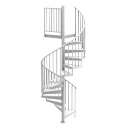 "White 84""D Endurance Code Compliant Spiral Stair Kit - Powder Coated Aluminum - 85"" - 152"""