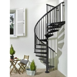 """Arke Sky 030 63""""D Outdoor Spiral Staircase Kits - 83-1/16""""H - 148-7/16""""H"""
