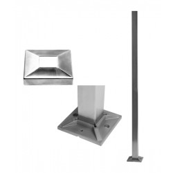 House of Forgings AX20.001.010 Floor Mounted Square Post with Flange Cover