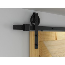 "Quiet Glide NT140008W08 Black Hook Strap Rolling Barn Door Hardware Kit with 5"" Wheel"