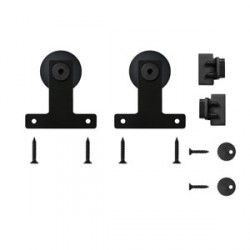 Quiet Glide QG.1410.04.08 Front Mount Black Hardware for Mini Furniture Rolling Doors (Rail Sold Separately)