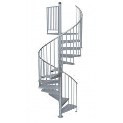"84""D Galvanized Steel Code Compliant Spiral Stair Kit - 85""H - 144""H"