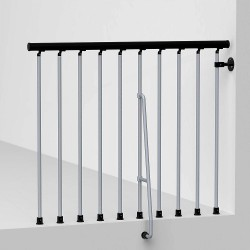 "Arke Civik Spiral Stairway Balcony Rail Kit - 3' 10""L Section - Gray Powder Coat"
