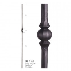 "House of Forgings 9/16"" Single Sphere Solid Round Balusters"