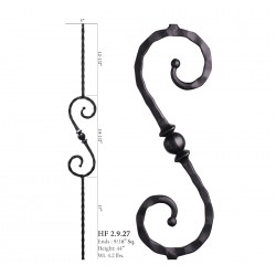 "House of Forgings 9/16"" Scroll 14-1/2"" x 5"" Solid Square Balusters"