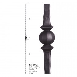 "House of Forgings 9/16"" Single Sphere Solid Square Balusters"