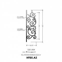 House of Forgings HFBX.A2 Bordeaux Concave Panel for Level Balcony / Straight Rail