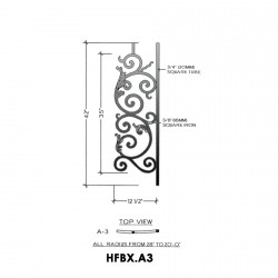 House of Forgings HFBX.A3 Bordeaux Convex Panel for Level Balcony / Straight Rail
