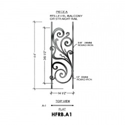 House of Forgings HFRB.A1 Rebecca Flat Panel for Level Balcony / Straight Rail