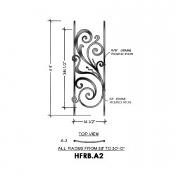 House of Forgings HFRB.A2 Rebecca Concave Panel for Level Balcony / Straight Rail