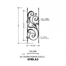 House of Forgings HFRB.A3 Rebecca Convex Panel for Level Balcony / Straight Rail