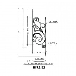 House of Forgings HFRB.B2 Rebecca Concave Panel for 23 - 39 Degree Angles