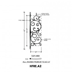 House of Forgings HFRE.A2 Regency Concave Panel for Level Balcony / Straight Rail
