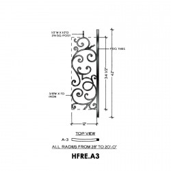 House of Forgings HFRE.A3 Regency Convex Panel for Level Balcony / Straight Rail