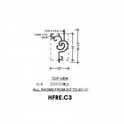 House of Forgings HFRE.C3 Regency Half Height Convex Panel for Up to 48 Degree Angles