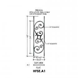 House of Forgings HFSE.A1 Seville Flat Panel for Level Balcony / Straight Rail