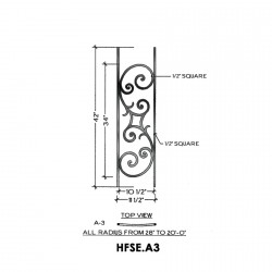 House of Forgings HFSE.A3 Seville Convex Panel for Level Balcony / Straight Rail