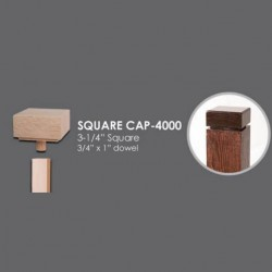 "House of Forgings SQUARE-CAP-4000 - 3-1/4"" Square Newel Cap with 3/4"" x 1"" Dowel for Use with 4000 Model Newels - Red Oak"