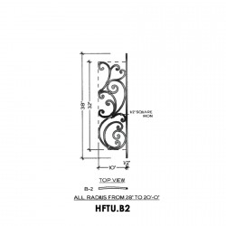 House of Forgings HFTU.B2 Tuscany Concave Panel for Level Balcony / Straight Rail