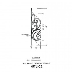 House of Forgings HFTU.C2 Tuscany Concave Panel for 20 - 36 Degree Angles