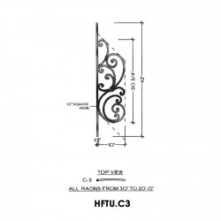 House of Forgings HFTU.C3 Tuscany Convex Panel for 20 - 36 Degree Angles