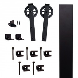 "Quiet Glide QG.FR1300.HK5.08 Flat Rail Hook Strap Style Rolling Door Hardware Kit with 5"" Roller - Black - Fits Doors Up to 1-1/2"""