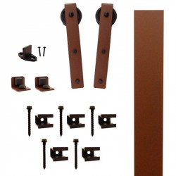 "Quiet Glide QG.FR1300.HK3.09 Flat Rail Hook Strap Style Rolling Door Hardware Kit with 3"" Roller - New Age Rust - Fits Doors Up to 1-1/2"""