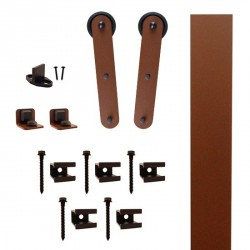 "Quiet Glide QG.FR1300.ST3.09 Flat Rail Stick Strap Style Rolling Door Hardware Kit with 3"" Roller - New Age Rust - Fits Doors Up to 1-1/2"""