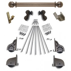 Quiet Glide Rolling Hook Library Ladder Kit (Hardware Only) - Hammered Antique Brass Finish