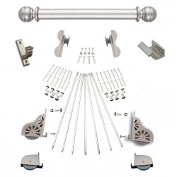 Quiet Glide Rolling Hook Library Ladder Kit (Hardware Only) - Satin Nickel