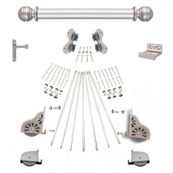 Rolling Ladder Hardware Kits with Satin Nickel Finish