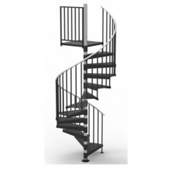 """48""""D Classic Iron Non-Code Spiral Stair Kit - Primed Steel - 85"""" - 152"""""""