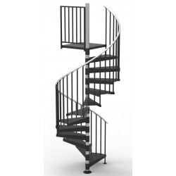 """84""""D Classic Iron Code Compliant Spiral Stair Kit - Primed Steel - 85"""" - 152"""""""