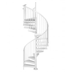 "Arke Techne 63"" Dia. Glass Fiber Reinforced Technopolymer Indoor/Outdoor Staircase Kit - 109-1/2""H - 128""H - White"